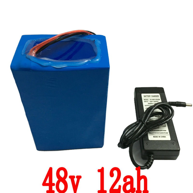 High Quality 700W 13S 48V 12AH lithium Electric Bike battery for with PVC case 15A BMS,54.6V 2A charger Free shipping(China (Mainland))