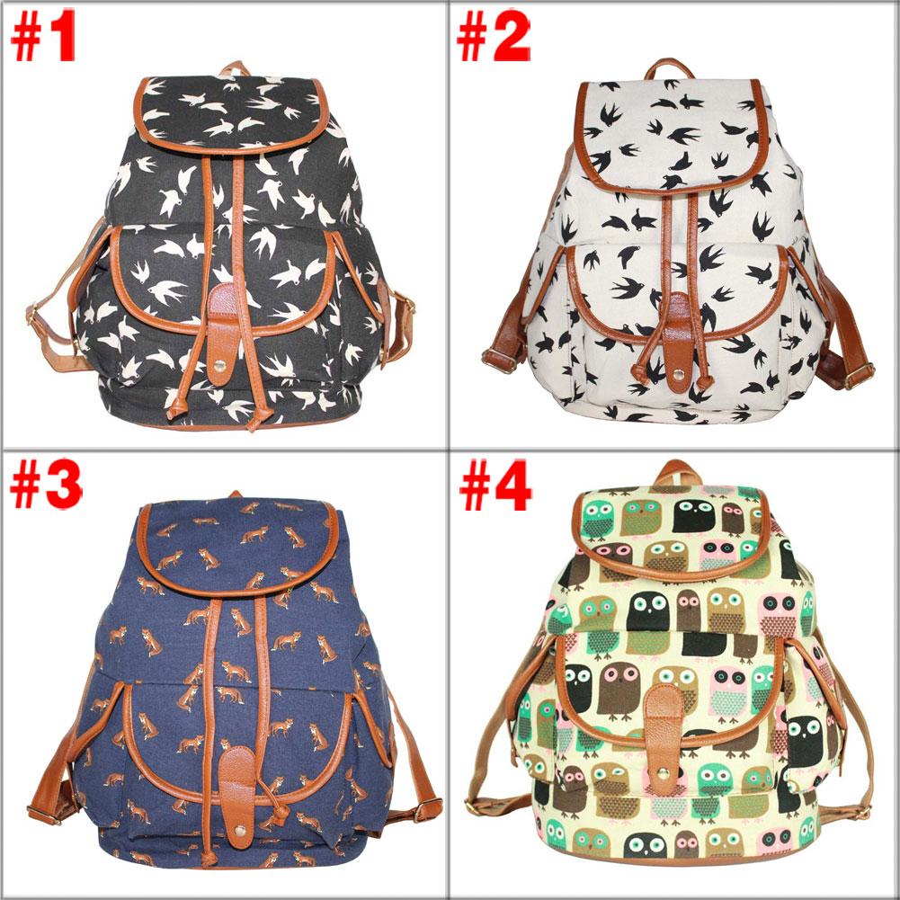 Animal Printed 3 Colors Charming Backpack for Girl Students Shoulder Bag Rucksack For Teenagers Girls HB88(China (Mainland))