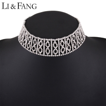 Buy Li & Fang Brand 2017 Rhinestone Choker Necklace Alloy Wholesale Simple Fashion Jewelry Women Maxi Crystal Necklaces Women for $6.71 in AliExpress store