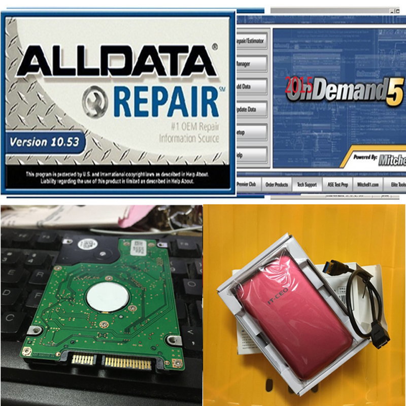 2016 auto repair software Alldata 10.53 All data + Mitchell on demand 2015+ Mitchell Manager Plus in 750G full new hard drive(China (Mainland))