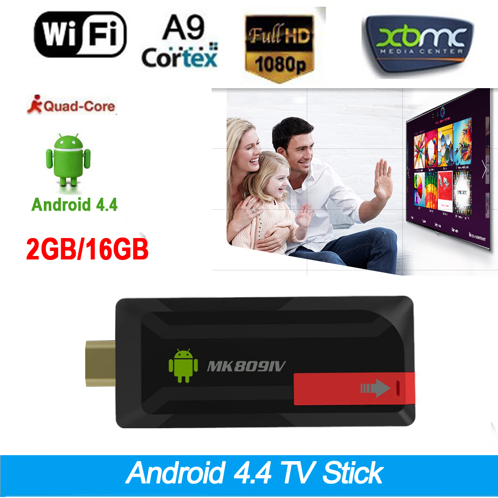 2G/16G Android 4.4 TV Box TV Stick Dongle DLNA XBMC WiFi Bluetooth Quad Core RK3188T MK809IV Android Mini PC tv dongle airplay(China (Mainland))