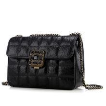Buy Vintage Designer Women Messenger Bags Genuine Leather Lady Plaid Chain Shoulder Bag Lock Purses Handbag bolsas de marca for $33.59 in AliExpress store