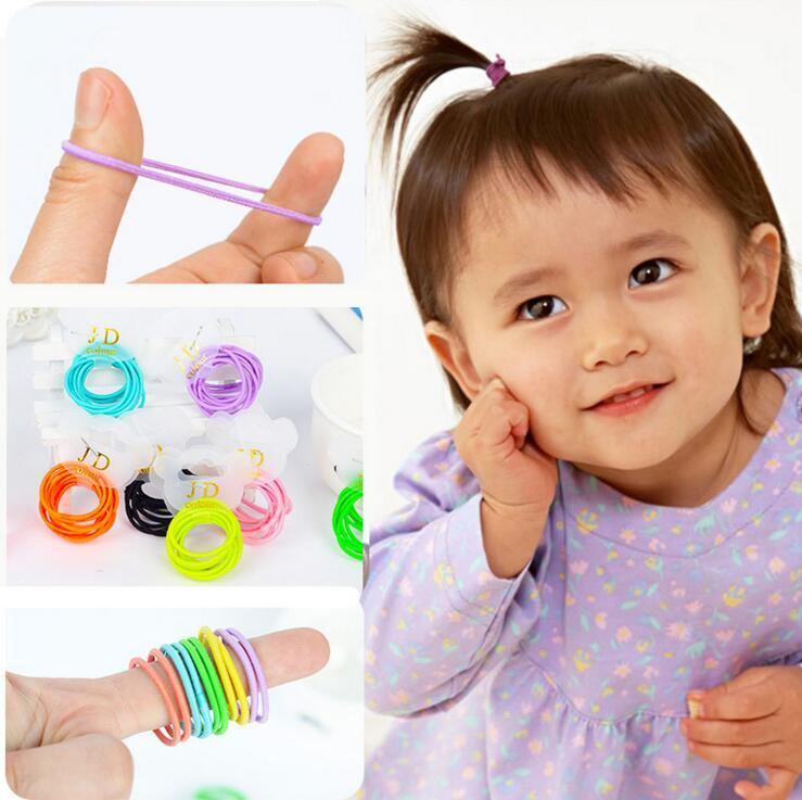 10 PCS Candy Color Elastic Girls Hair Rope Kids Ponytail Hairband For Children Girl D2(China (Mainland))