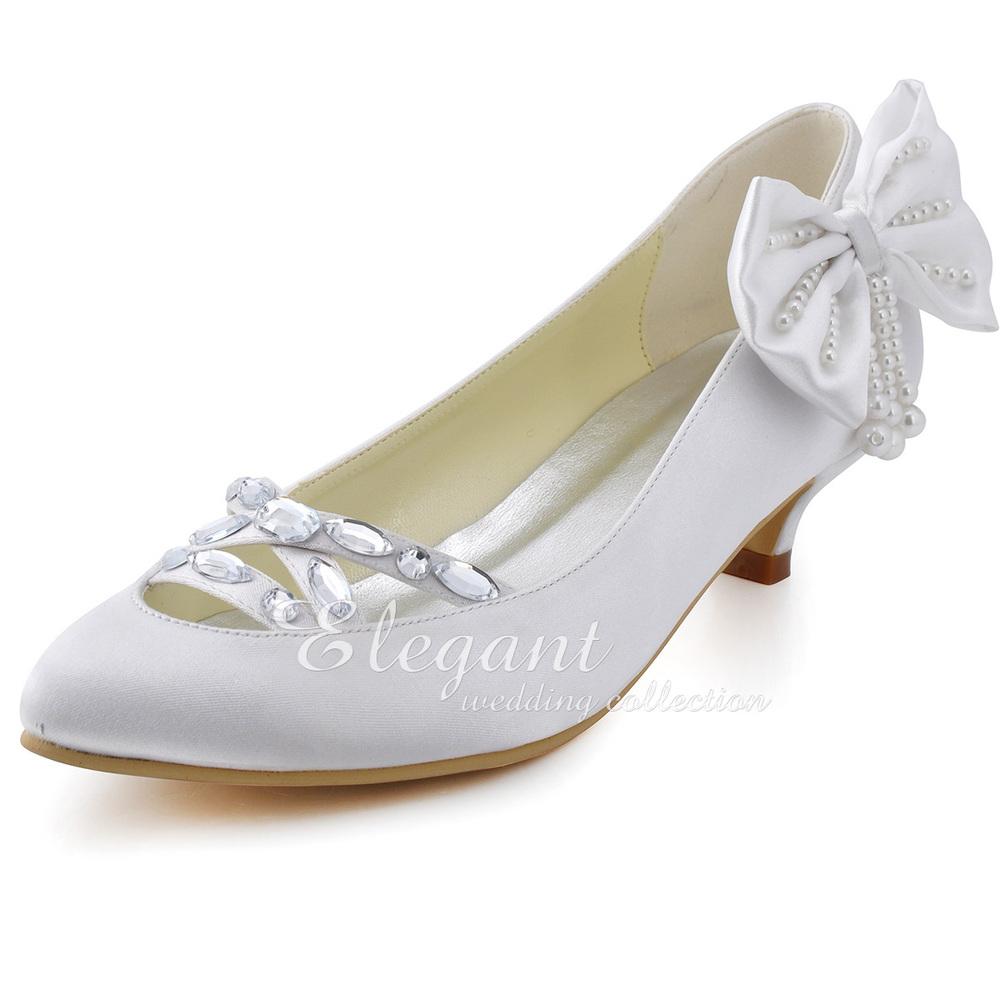 2013 New Fashion Design Woman Pumps EP2088 Sweet Close Toe Rhinestone Cutout Bow Pearl Cone Heel Satin Wedding Shoes<br>