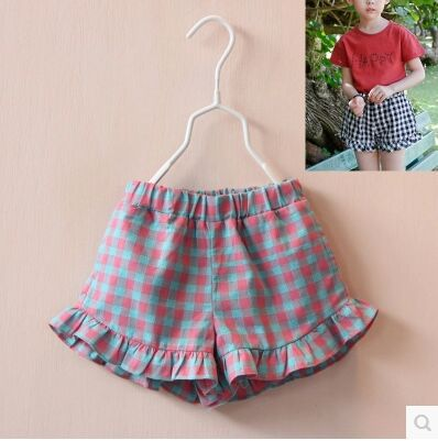 5pcs/lot 2015 new fashion summer Korea style girls plaid Ruffles princess shorts baby all-match boutique shorts 2 colors<br><br>Aliexpress