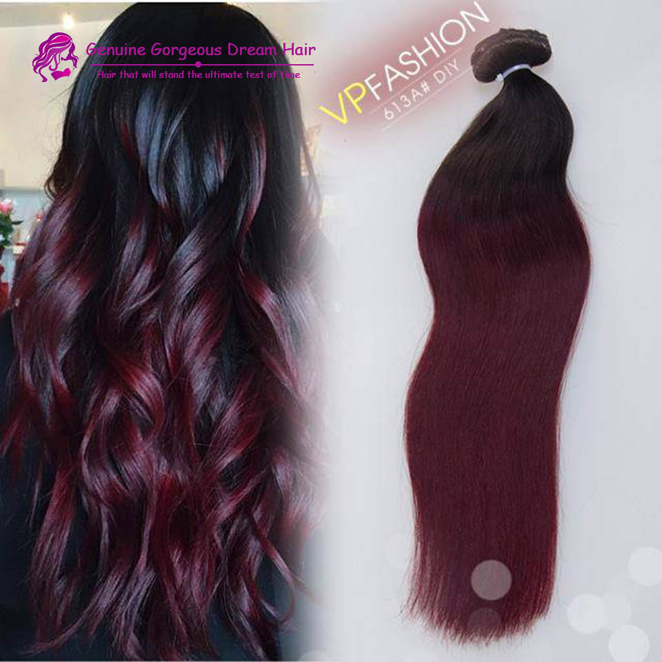 Ombre 1b/99j virgin brazilian hair Dark red clip in remy hair extensions Straight clip in human hair extensions For Chrimas<br><br>Aliexpress
