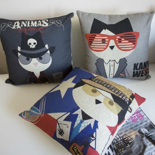 Modern Cute cat Cushion Pillow Cartoon cotton Square Cushion for Office Home Decorate sofa cushions 45