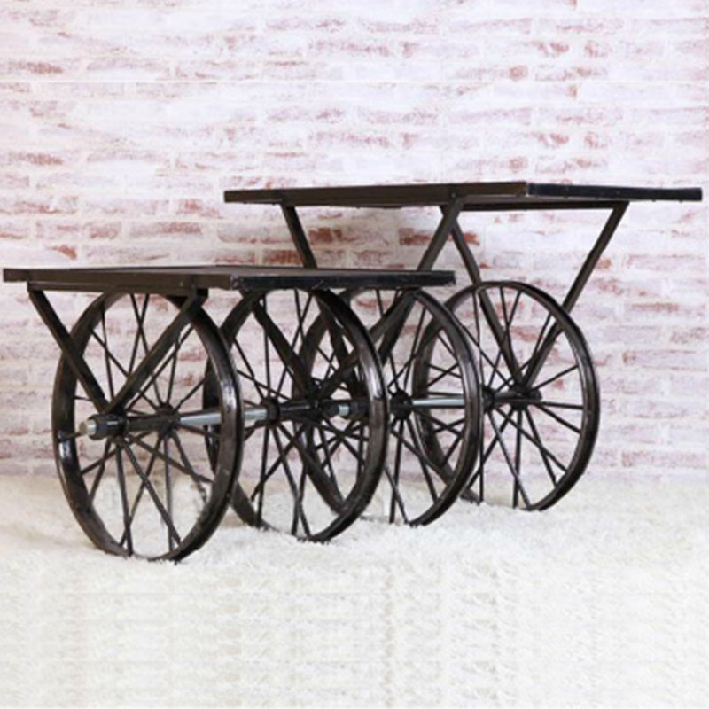 To OEM casual creative fashion to do the old wrought iron coffee table vintage water wheel wood color tables, coffee table(China (Mainland))