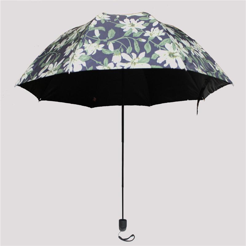 Creative lily sunny umbrella three folding vinyl sun umbrella sun shade canopy diameter 98cm weight 325g automatically retracted(China (Mainland))