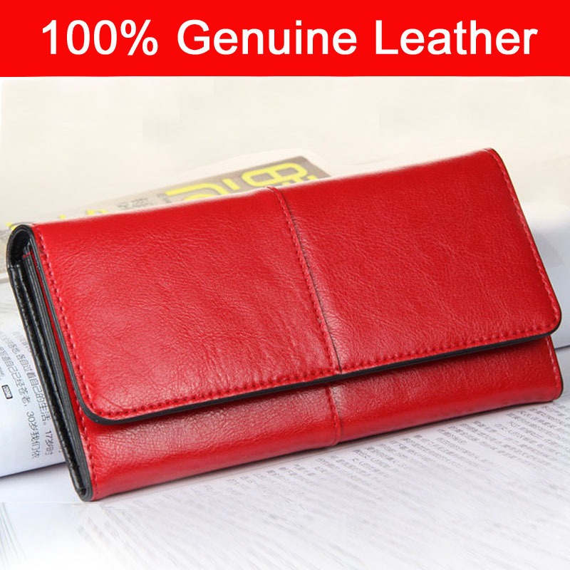 2016 New Women Wallets 100% Genuine Cow Leather Purses Fashion 2 Tone Lady Red Long Wallet Female Clutch Bag 501-8+1(China (Mainland))