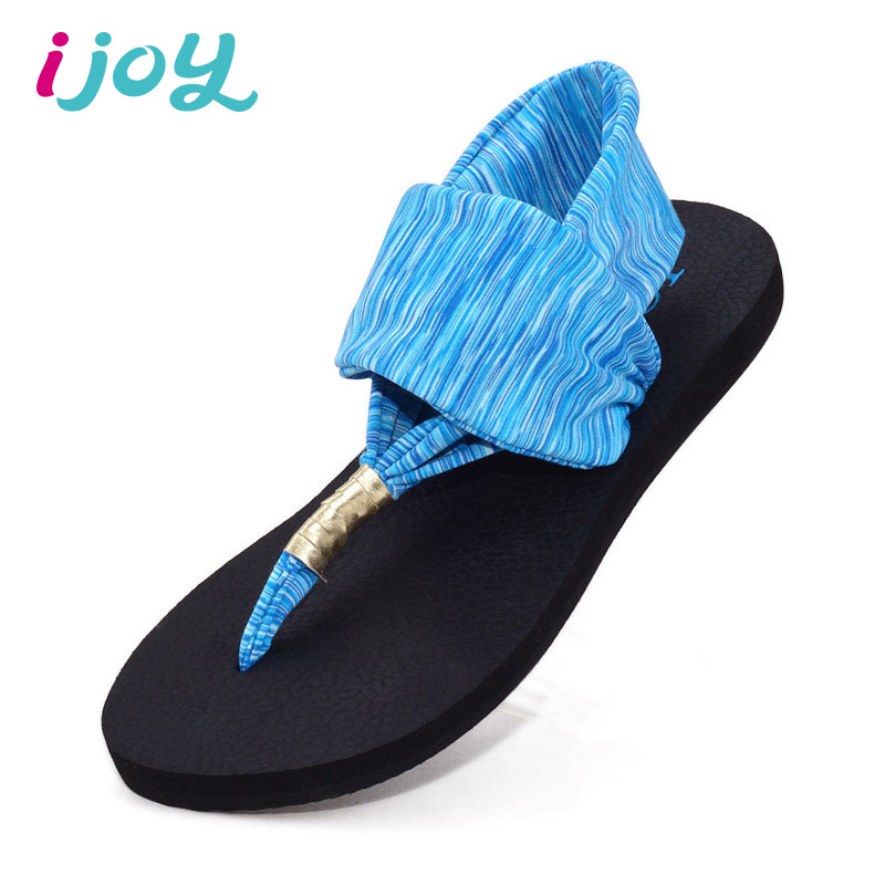 IJOY Women Summer Beach Sandals Girls Flip Flops Fashion Ladies Elastic Band T-Strap Flat Sandals Rubber Non-slip Soles Shoes(China (Mainland))