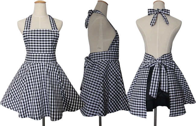 Korean Household Cleaning Kitchen Apron Cooking Retro High Quality Maid Plaid Cotton Working Salon Hairdresser Apron Dress(China (Mainland))