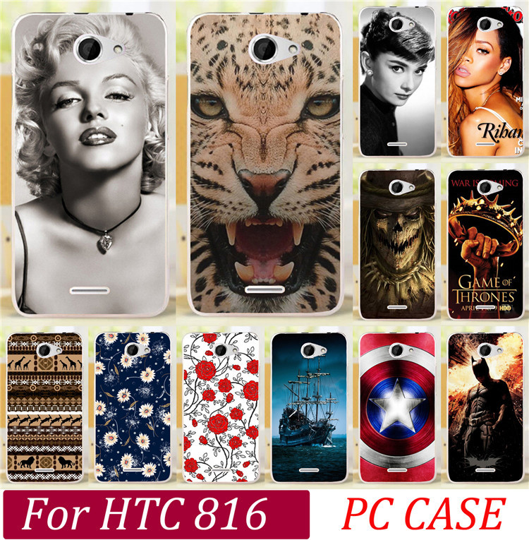 Newer Rihanna Dog Tiger Skull Butterfly Rose Cat Keep Clam Batman Phone Case Cover Skin Shell For HTC Desire 816 800 D816W Cases(China (Mainland))