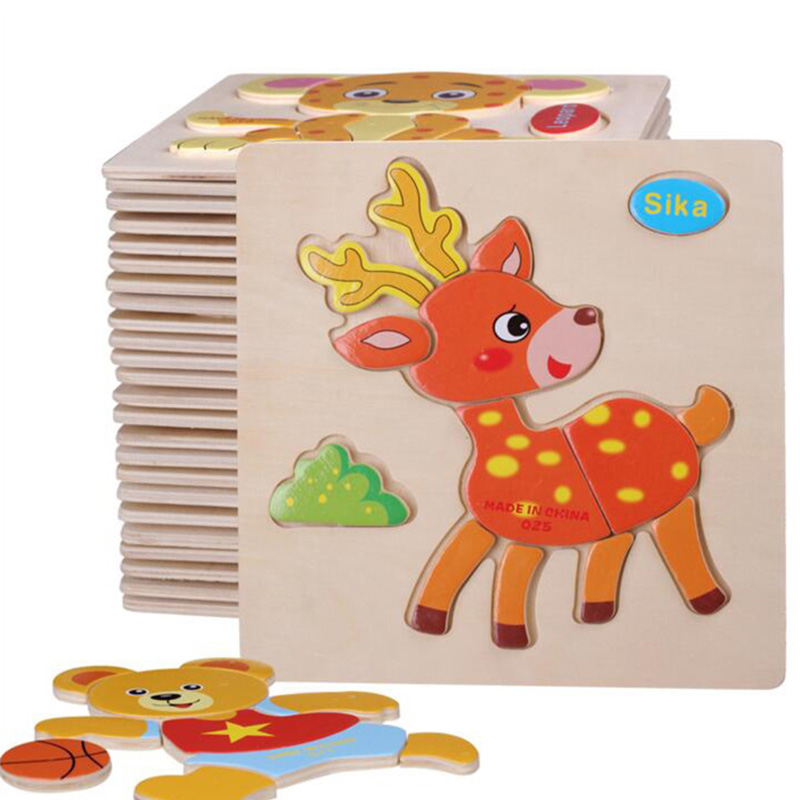 Wooden 3D Puzzle Jigsaw Wooden Toys For Children Kids Cartoon Animal Puzzles Intelligence Educational Toy Toys Puzzle(China (Mainland))