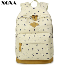 High Quality Bunuck Leather Backpack School Bags for Teenagers Girls Bolsas Mochila Feminina Canvas Printing Backpack Female(China (Mainland))