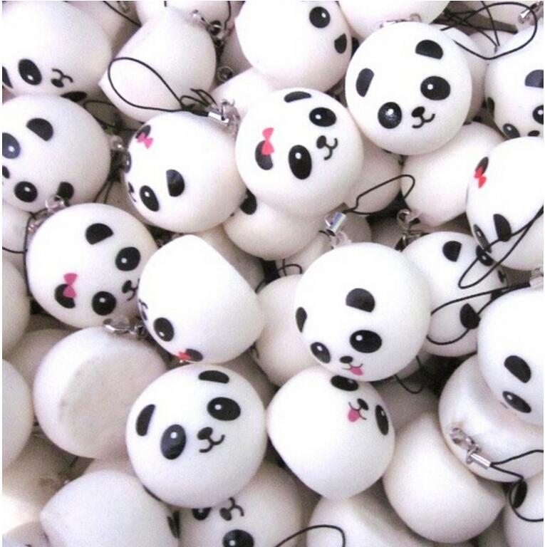6.5 cm Jumbo Panda Bun Squishy Cell Phone Charms Kawaii Panda Buns Key Bag Strap Squishes(China (Mainland))