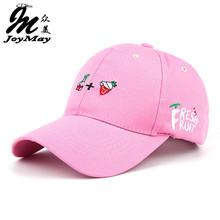 2016 New Arrival Spring Leisure Fresh Fruit Embroidery Hat Strawberry Banana Cherry Orange Peach Baseball Cap For Women B291(China (Mainland))