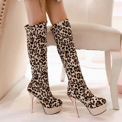 Big Size 32-43 Sexy Leopard Women Boots Thin High Heel Red Bottom