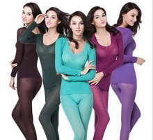 Women thermal underwear women seamless thin casual long johns red black blue slim warm bodysuit clothing set intimates lingerie(China (Mainland))