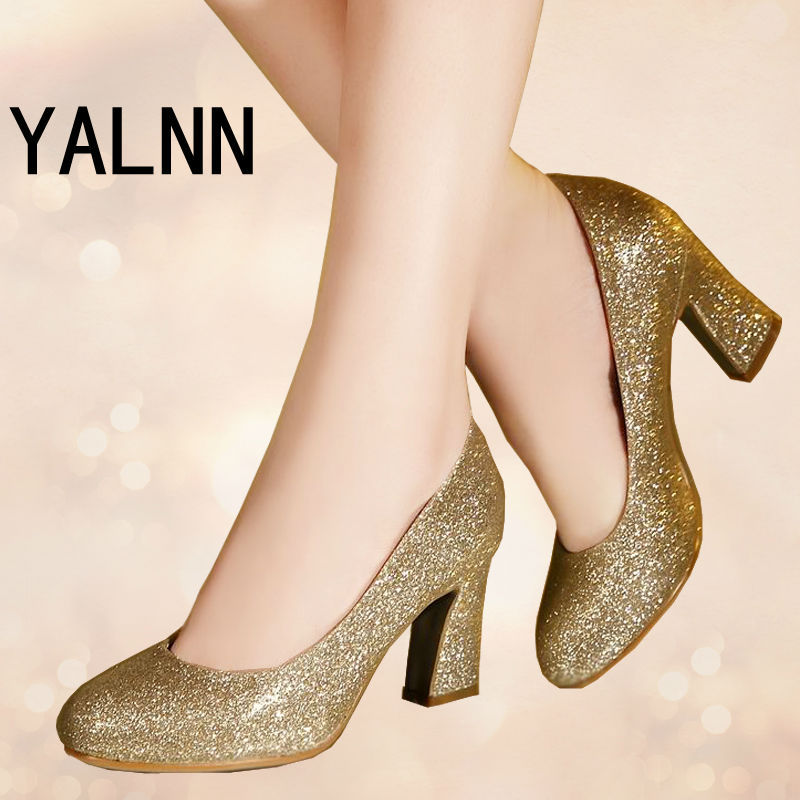 Fashion Women's High Heel Gold Sexy Round Toe Dancing Party Shoes Red Bridal Wedding Prom Party Girl Shoes(China (Mainland))