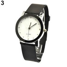 Hombres mujeres amante pareja relojes de imitación de cuero de gran tamaño ronda Dial relojes del cuarzo 284U