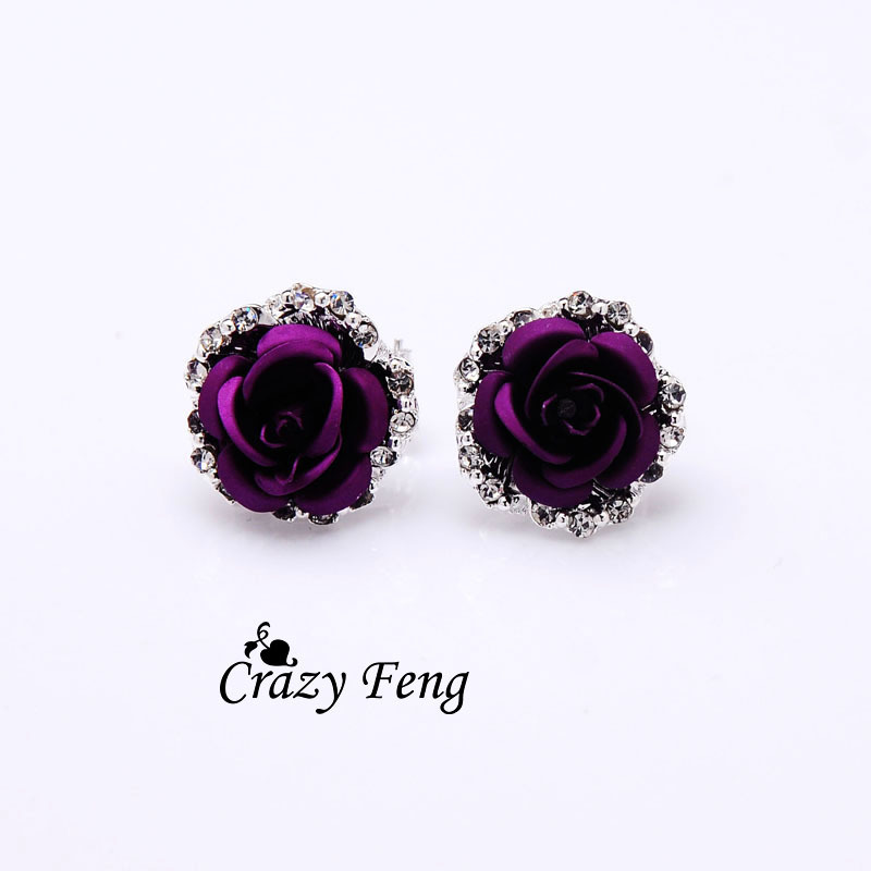 Hot sale Fashion New Women's/Girl's Austrian crystal 6 Colors Stud Earrings Jewelry one pair Free shipping women gifts(China (Mainland))