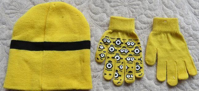 1set=2pcs Free shipping baby boys 2015 Children Dave cartoon winter knitted hat and gloves children's cap set of winter children