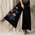 Summer Women s Linen Wide Leg Wide Leg Pants High Quality Lotus Embroidery Black Casual Pants