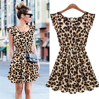 Новый горячая распродажа сексуальная свободного покроя женщины платье леопардовый рукавов Vestidos Femininas платья девушка сарафан S4012