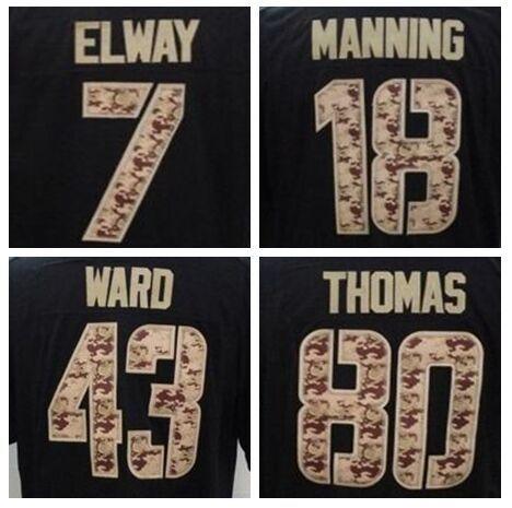 Black Salute Service Men Football Jersey Denver #7 John Elway 18 Peyton Manning 43 TJ Ward 80 Julius Thomas Limited Sewn Jersey(China (Mainland))