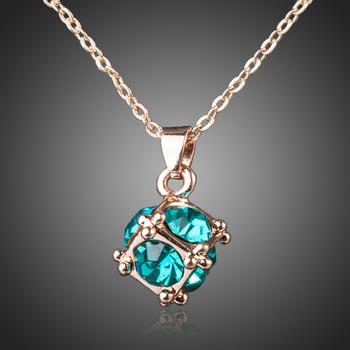 18k rose gold plated CZ diamond square crystal necklace pendants