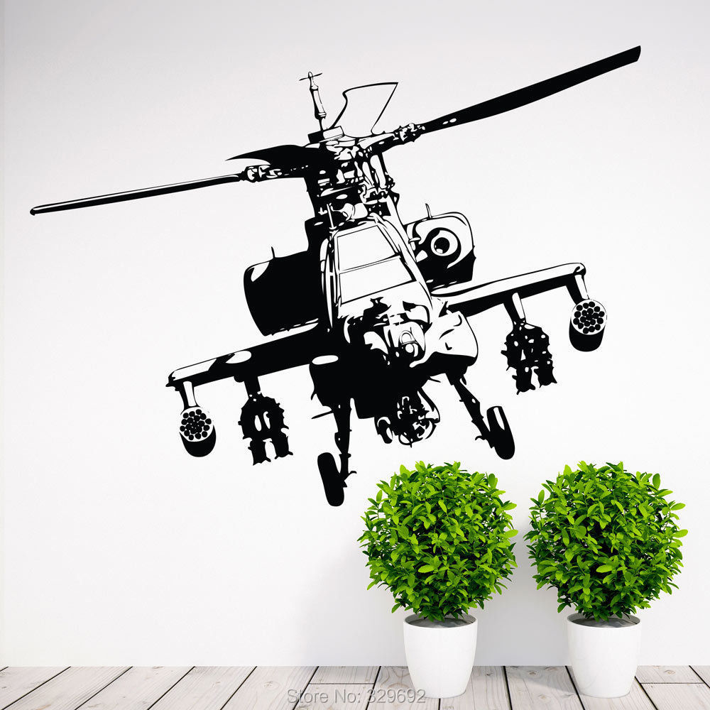 US Army Air Force Military Apache Helicopter Wall Decal Art Decor Sticker kids room decor wall stickers size 56x75cm tx-368(China (Mainland))