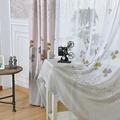 Simplife Tulle Window Translucidus Voile Curtain Elegant Flora Printed Voile Drape for Living Room Bedroom Kitchen