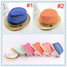 Kids Fedora Hat Children Summer Hat Girls Jazz Cap Summer straw cap Dicers Fedoras 10pcs/lot BH246(China (Mainland))