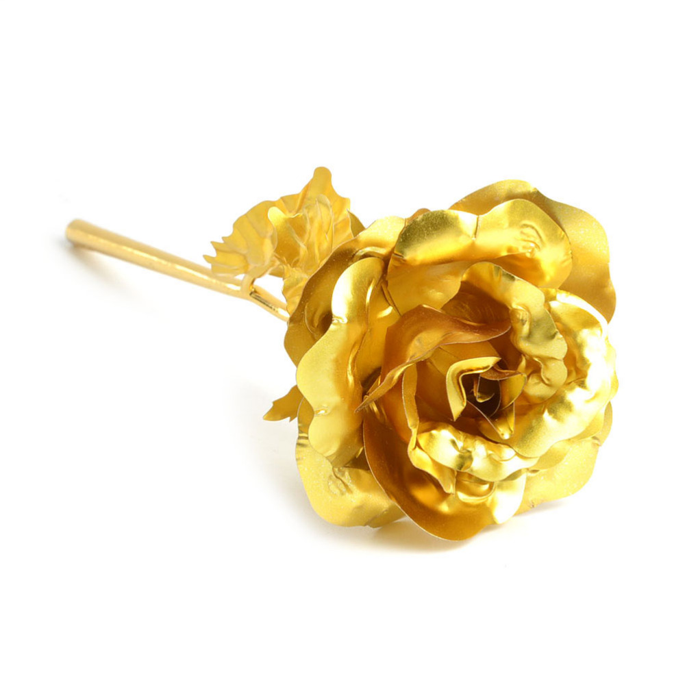 New Hot Rushed Fine Gold Plated Foil Plastic Rose Flower Valentine's Day Gift Showcase Counter Bijoux Displays Women Wedding(China (Mainland))