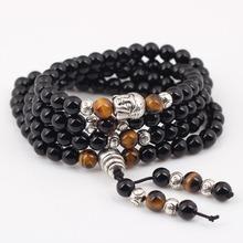 Bonsny natural agate bracelet black buddha onyx stone zinc alloy new 2015 fashion girl women jewelry hand made accessories(China (Mainland))