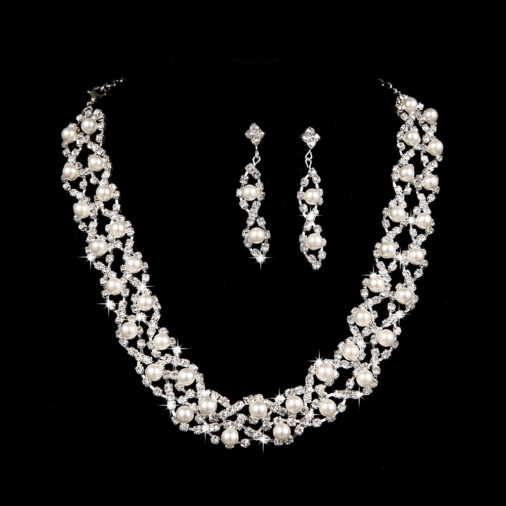 S35 Cheap pearl wedding jewelry sets shinning crystal necklace and earrings vintage bridal costume Jewellery(China (Mainland))