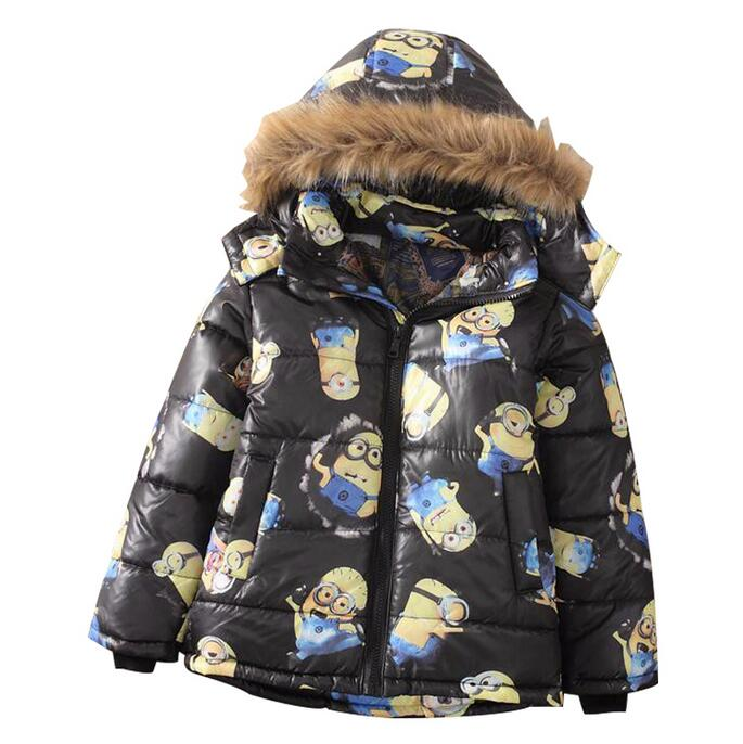 New 2016 Children's Cartoon Jacket Baby & Kids Despicable Me Thick Hooded Outerwear Winter Warm Coat boys Down & Parkas in stock(China (Mainland))