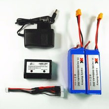 2pcs Original 11.1V 5400mAh 20C Lipo Battery and charger 3in1 cable XK X380 X380-A X380-B X380-C rc Quadcopter Helicopter