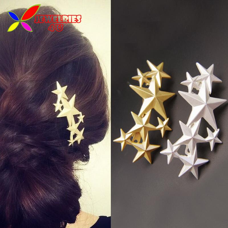 2016 Fashion Designer Noval Gold Silver Alloy Stars Top Females Hairgrips Hair clip accessories Jewelry for women(China (Mainland))