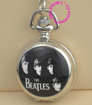 good quality classic black white figure THE BEATLES pocket watch vintage necklace antique women girl children antibrittle - Chic Watches store