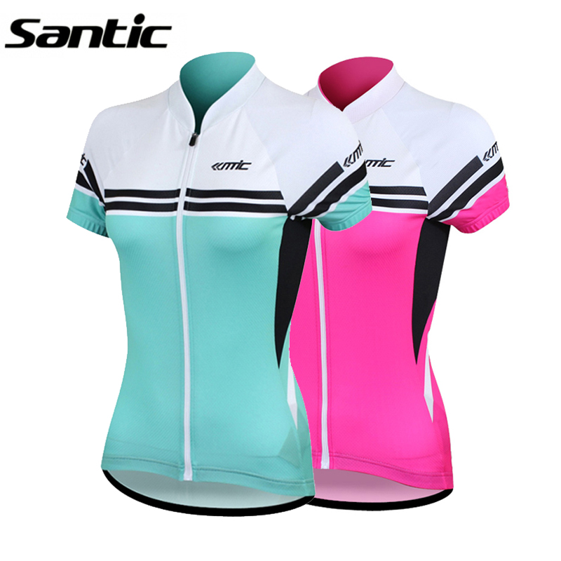 Santic Cycling Jersey Short Sleeve Ropa Ciclismo 2015 Pink Blue MTB Mountain Road Bike Jersey Bicycle Clothes For Women S M L XL
