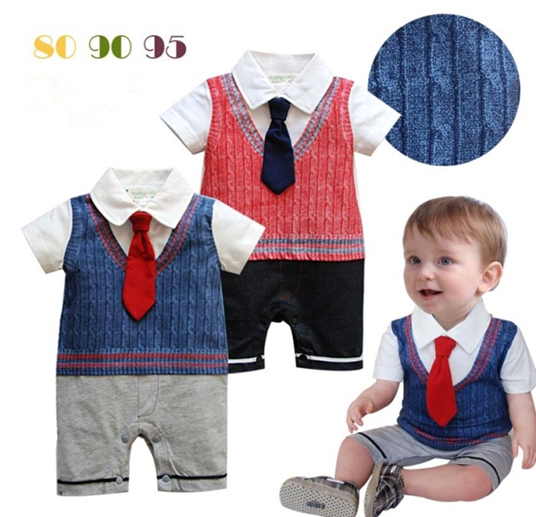 Baby boy gentleman 2 color summer short-sleeved cotton tie strap summer romper infant toddler formal wear clothing tuxedo suit(China (Mainland))