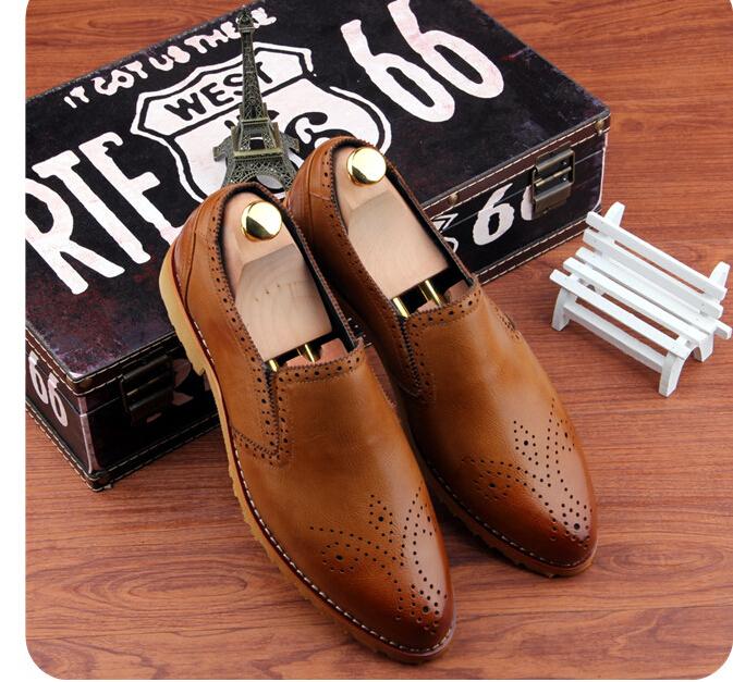 Brand Retro vintage men Genuine Leather pointed toe fashion luxury business dress shoes Oxfords EUR 37-43 T--21