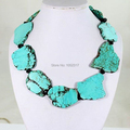 Wedding Handmade Shining Crystal Turquoise Necklace Woman Gift Exaggerated Jewelry Slice Turquoise Stone Necklace 45cm 18inch