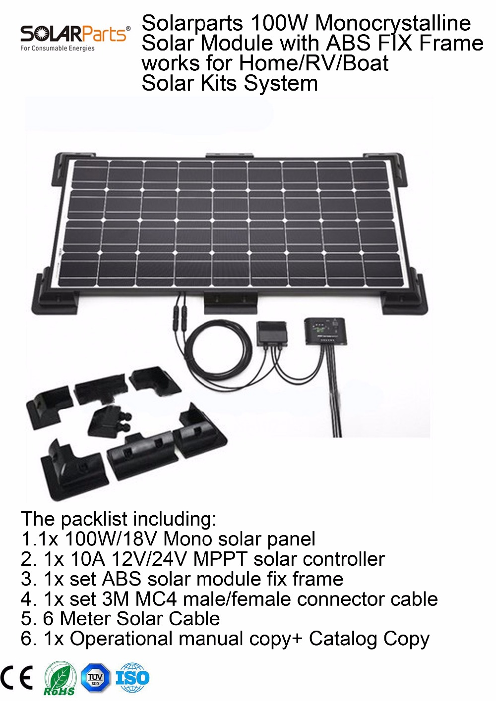 Solarparts 1x 100W Monocrystalline Solar Module by ABS fix frame solar cell factory cheap selling 12V solar panel RV/Marine/Boat(China (Mainland))