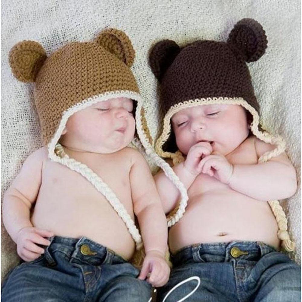 Handmade Knitted Crochet Baby Hat Infant Monkey Hat with Ear Flap Kids Animal Beanies Crochet Cap Winter Cap BH0824(China (Mainland))