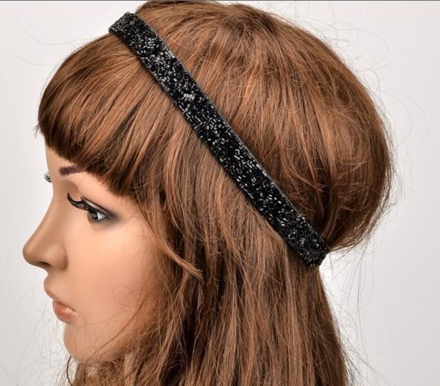 holesale retail charming Fshion black beads beading handmade Elastic headband party hari accessories(China (Mainland))