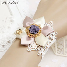 Princess Lolita vintage lace wrist length  female accessories pink flower  ribbon bracelet  purple rose jewelry(China (Mainland))