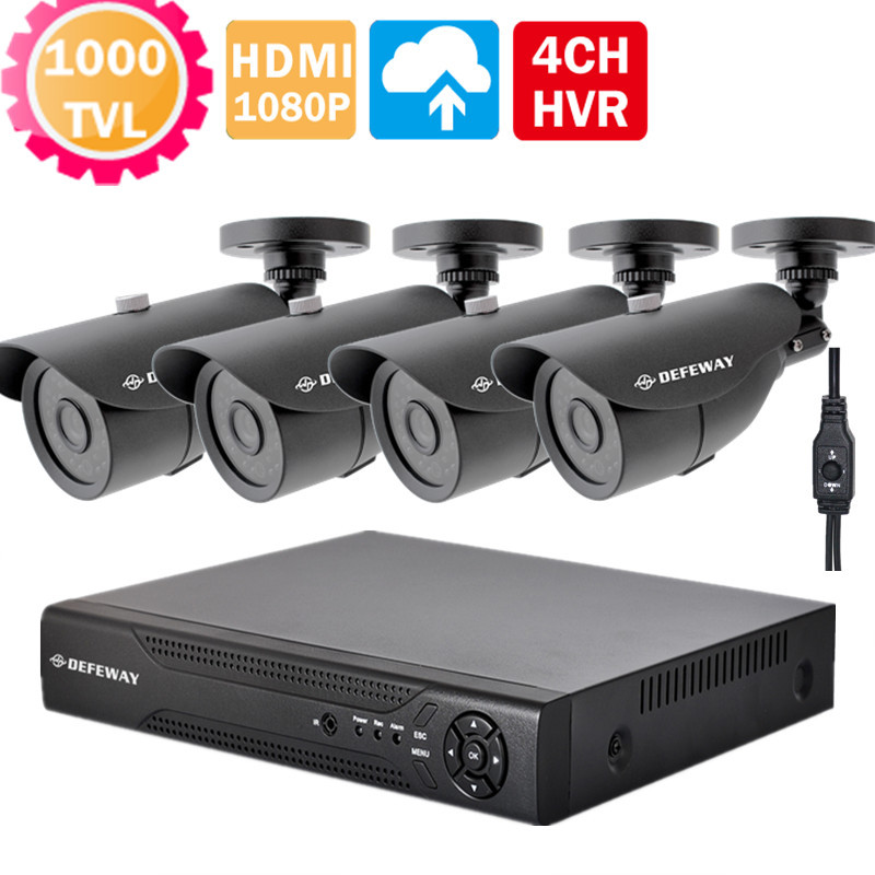 phone view HD homse security 4CH 1080p video surveillance kit Full 960H hybrid NVR DVR kit security camera System+OSD cable(China (Mainland))